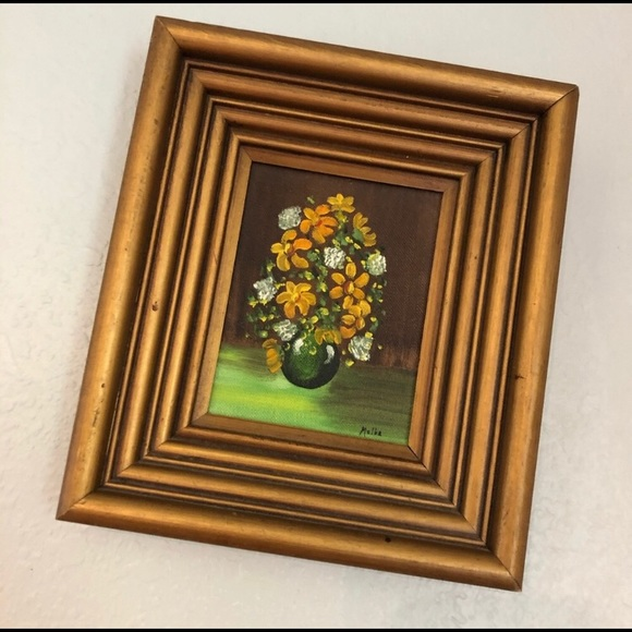 Vintage floral original art flowers green orange